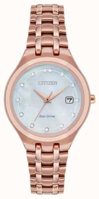 Citizen Quadrante con diamanti eco-drive da donna EW2489-54D