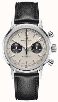 Hamilton Intramatic - cronografo meccanico | cinturino in pelle nera | quadrante bianco H38429710