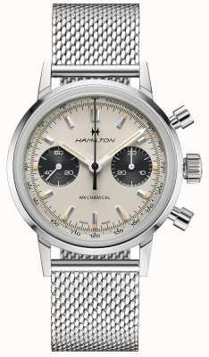 Hamilton Intramatic - cronografo meccanico | cinturino in maglia d'argento | quadrante bianco H38429110