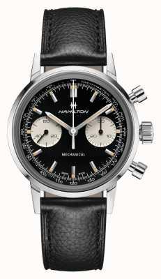 Hamilton Intramatic | meccanico | cronografo | quadrante nero | cinturino in pelle nera H38429730