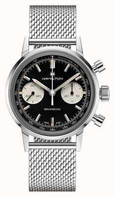 Hamilton Intramatic | cronografo quadrante nero | bracciale in maglia d'acciaio H38429130
