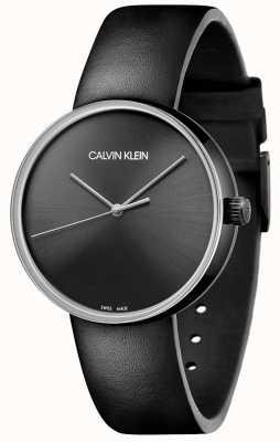 Calvin Klein Cinturino in pelle nera da donna | quadrante nero KBL234C1