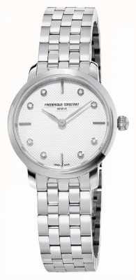 Frederique Constant Quadrante sottile da donna con diamanti | bracciale in acciaio inossidabile FC-200STDS26B