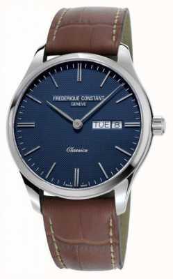 Frederique Constant Quarzo classico da uomo | cinturino in pelle marrone | quadrante blu FC-225NT5B6