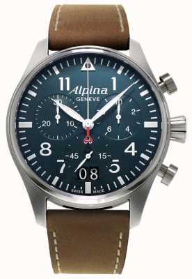 Alpina Cronografo smartimer da uomo | cinturino in pelle marrone | quadrante blu AL-372N4S6