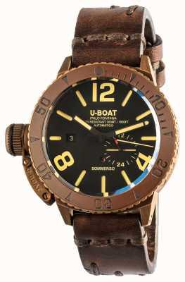 U-Boat Sommerso 46 | bronzo | lunetta in ceramica | cinturino automatico in pelle marrone 8486/C