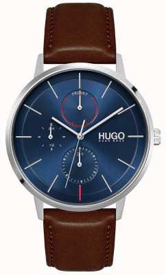 HUGO #exist | cinturino in pelle marrone da uomo | quadrante blu 1530201