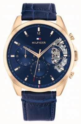 Tommy Hilfiger Baker | cinturino in pelle blu | quadrante blu 1710451