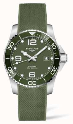 Longines Orologio automatico con cinturino in caucciù verde Hydroconquest L37813069