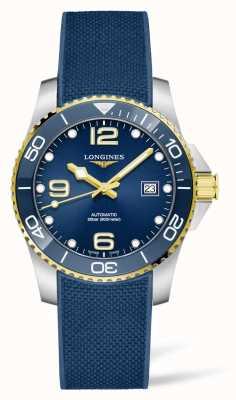 Longines Cinturino in caucciù blu automatico Hydroconquest lunetta in ceramica L37813969