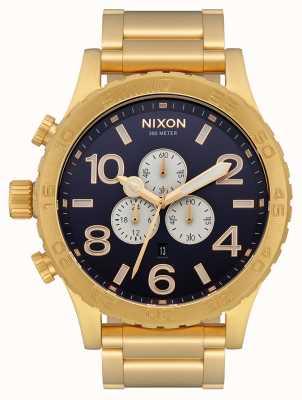 Nixon 51-30 crono | tutto oro / indaco | braccialetto ip oro | quadrante indaco A083-2033