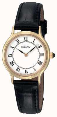 Orologio donna Seiko quadrante bianco cinturino pelle nera SFQ830P1