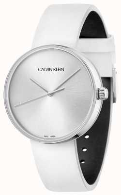 Calvin Klein Cinturino da donna in pelle bianca | quadrante argentato KBL231L6