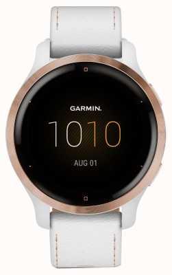 Garmin Venu 2s touchscreen | Lunetta placcata oro rosa da 41 mm | custodia bianca | cinturino in pelle (più cinturino in silicone bianco) 010-02429-23