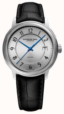 Raymond Weil | maestro | automatico | quadrante arabo argento | cinturino in pelle nera 2237-STC-05658