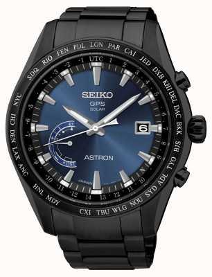 Seiko Quadrante blu in acciaio inossidabile placcato ip nero con gps Astron SSE111J1