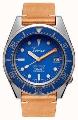 Squale Blu fatto saltare | automatico | quadrante blu | cinturino in pelle marrone 1521BLUEBL.PC-CINVINTAGE