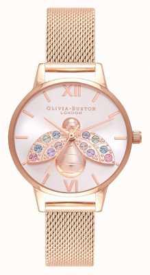 Olivia Burton Maglia arcobaleno ape argento con raggi di sole in oro rosa OB16RB28