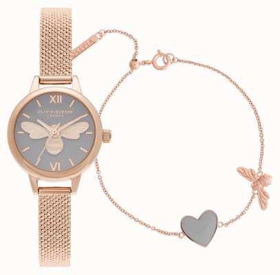 Olivia Burton Hai il mio set regalo con orologio e bracciale in oro rosa cuore OBGSET148