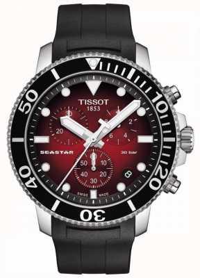 Tissot Seastar 1000   cronografo   quadrante rosso   cinturino in silicone nero T1204171742100