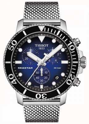 Tissot Seastar 1000   cronografo   quadrante blu   maglia inossidabile T1204171104102
