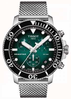 Tissot Seastar 1000   cronografo   quadrante verde   maglia inossidabile T1204171109100