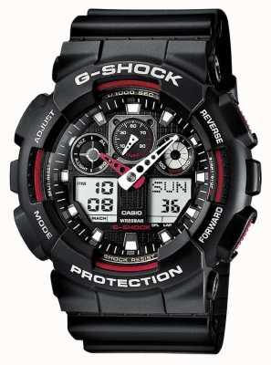 Casio Cronografo G-shock con allarme nero rosso GA-100-1A4ER
