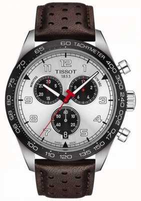 Tissot Prs 516   cronografo   quadrante argento   cinturino in pelle marrone T1316171603200