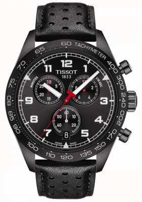 Tissot Prs 516 | cronografo | quadrante nero | cinturino in pelle nera T1316173605200