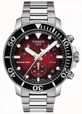 Tissot Seastar 1000 | cronografo | quadrante rosso | acciaio inossidabile T1204171142100