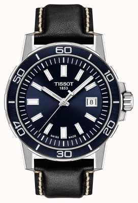 Tissot Supersport | quadrante blu | cinturino in pelle nera T1256101604100