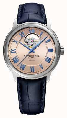 Raymond Weil Maestro | automatico | quadrante in rame rosa | cinturino in pelle blu 2227-STC-00808