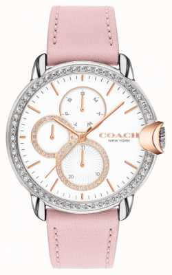 Coach Arden femminile | cinturino in pelle rosa | quadrante bianco 14503747
