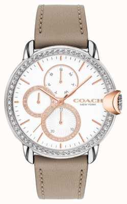 Coach Arden femminile | cinturino in pelle di vitello pietra | quadrante in cristallo bianco 14503733