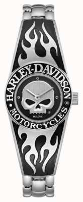 Harley Davidson Quadrante teschio willie g fiammeggiante da donna | bracciale rigido in acciaio inossidabile 76L190
