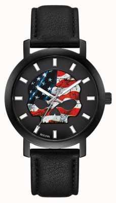 Harley Davidson Bandiera americana uomo willie g | cinturino in pelle nera 78A122