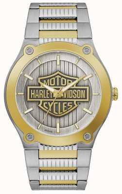 Harley Davidson Bracciale da uomo in acciaio bicolore | quadrante argentato 78A125