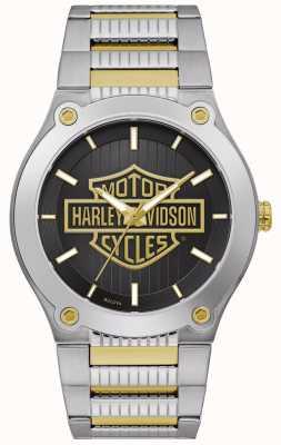 Harley Davidson Bracciale da uomo in acciaio bicolore | quadrante nero 78A126