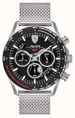 Scuderia Ferrari Pilota evo maschile | bracciale in maglia d'acciaio argento | quadrante nero 0830826