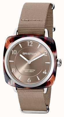 Briston Clubman chic | quadrante grigio talpa 36mm argento | cinturino nato taupe 21536.SA.UBR.30.NT