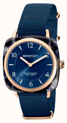 Briston Clubman chic | oro rosa 36mm quadrante blu navy | cinturino nato blu navy 21536.PRA.UB.33.NMB
