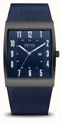 Bering Solare | uomo | nero spazzolato | braccialetto a maglie blu 16433-327