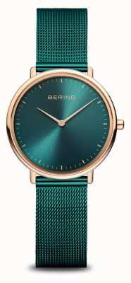 Bering Classico orologio da donna verde e oro rosa 15729-868