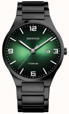 Bering Orologio da uomo con quadrante verde in titanio 15240-728