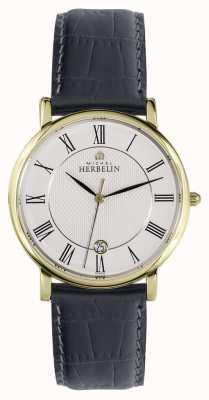 Michel Herbelin Classico | 38mm | quadrante bianco | cinturino in pelle nera 12248/P08