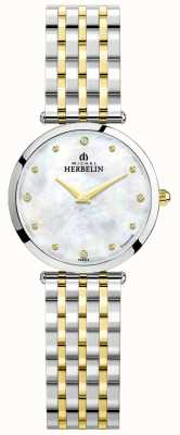 Michel Herbelin Epsilon   quadrante in madreperla   bracciale in acciaio bicolore 17116/BT89