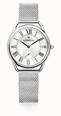 Michel Herbelin Equinozio   quadrante argento   bracciale in maglia di acciaio inossidabile 18397/08B