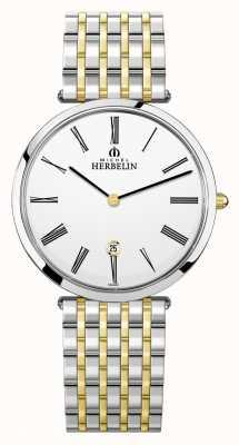 Michel Herbelin Epsilon | quadrante bianco | bracciale in acciaio bicolore 19416/BT01N
