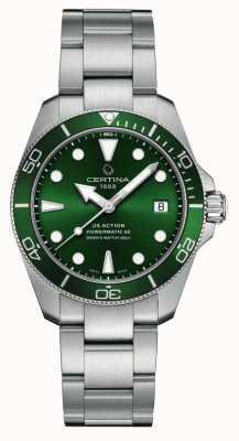 Certina Ds action diver   quadrante verde   bracciale in acciaio inossidabile C0328071109100