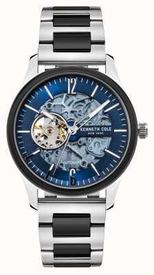 Kenneth Cole Automatico | quadrante blu scuro | bracciale in acciaio inossidabile bicolore KC50224001B